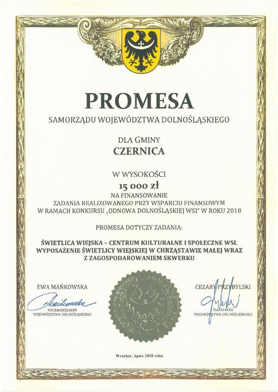 Promesa na inicjatywę Odnowy Dolnośląskiej Wsi