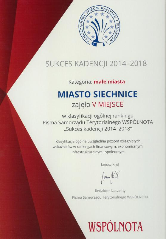 Kolejne ogólnopolskie nagrody dla gminy Siechnice