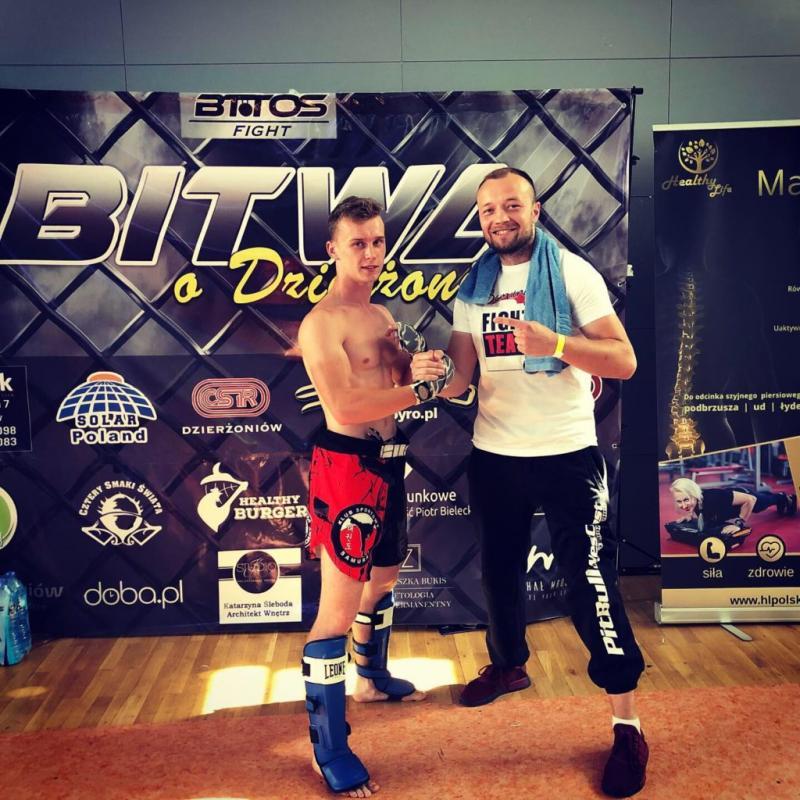 Świetna walka Grzegorza na Gali Kickboxingu oraz MMA wDzierżoniowie