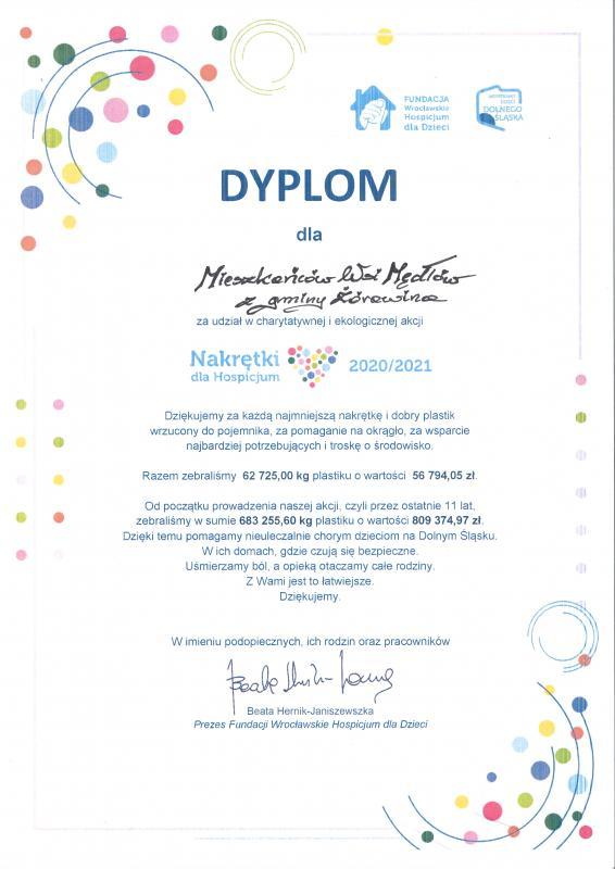Dyplom Wrocławskiego Hospicjum dla Dzieci dla mieszkańców Mędłowa